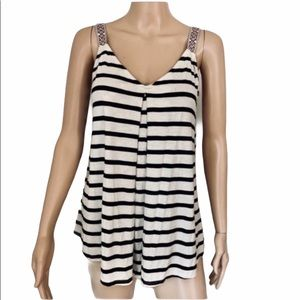 MAX STUDIO STRIPED EMBROIDERED LOOSE TANK XS NWT